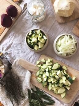 Couper les légumes en morceaux
