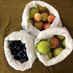 Fruits dans sacs a vrac en coton bio